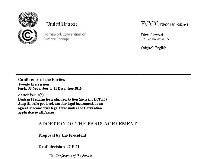 Treść Porozumienia z Paryża / Źródło: UNFCCC