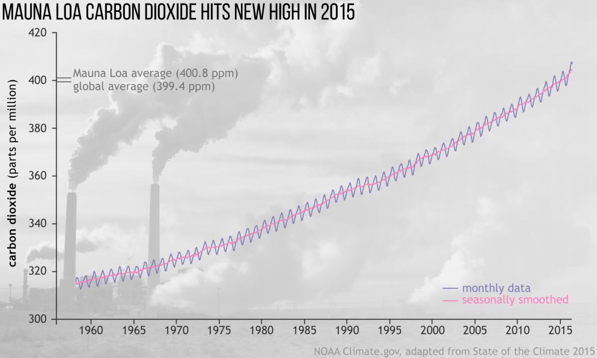 stężenie CO2 w atmosferze 1958-2015