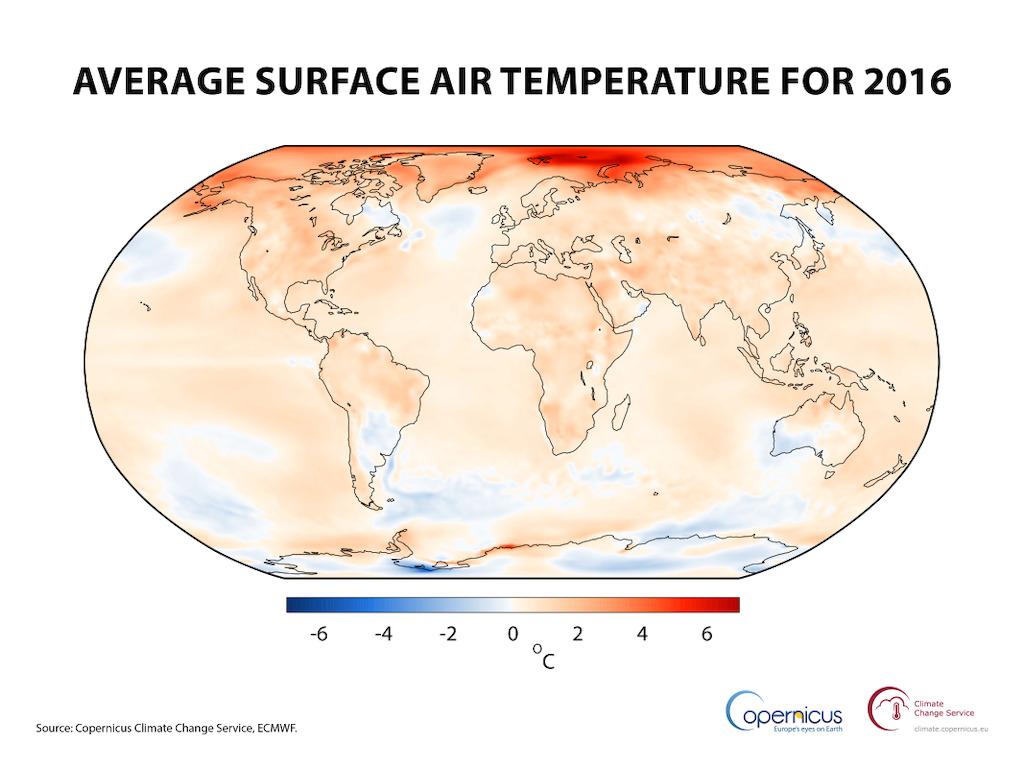 rekord temperatury 2016 Copernicus grafika1