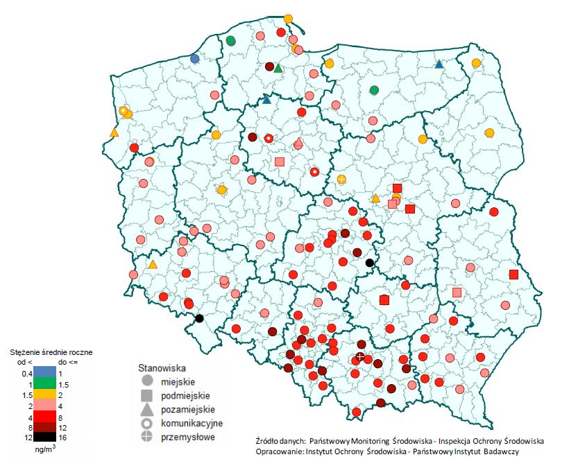 smog w polsce stężenie benzo(a)pirenu 2015