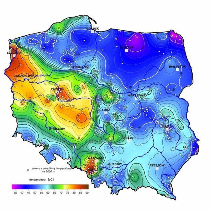 energia geotermalna polska temperatura wody