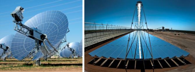 skoncentrowana energia słoneczna solar dish fresnel