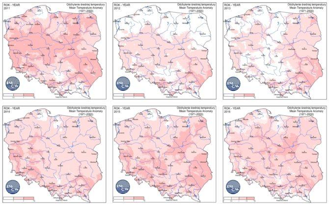 zmiany klimatyczne temperatury polska 2011-2016