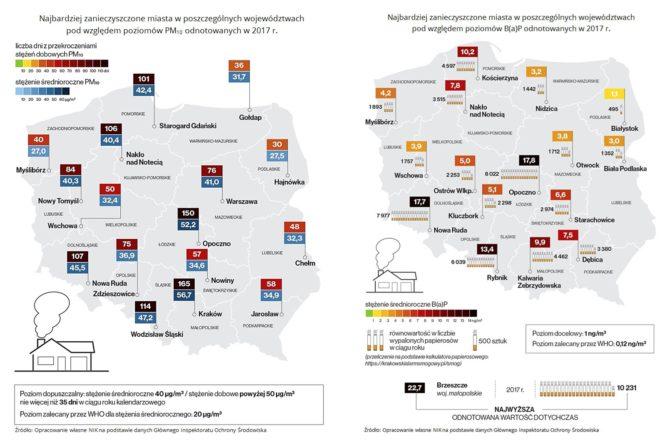 najbardziej zanieczyszczone miasta w Polsce PM10 benzoapiren NIK